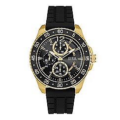 Guess - Men's black and gold watch with aluminium trim and black textured strap w0798g3