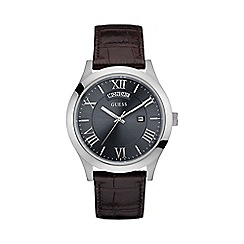 Guess - Men's silver and grey watch with brown crocodile strap