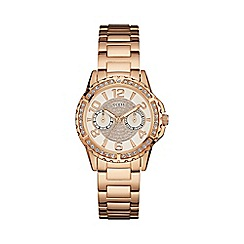 Guess - Ladies rose gold watch with multifunctional dial and crystal detailing