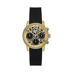Guess - Ladies black and gold watch with crystal detailing and animal print dial