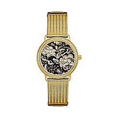 Guess - Ladies gold watch with black and gold floral dial w0822l2