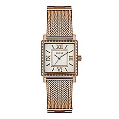 Guess - Ladies rose gold watch with silver dial