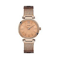 Guess - Ladies rose gold watch with crystal detailing and rose gold wire bracelet