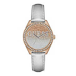 Guess - Ladies rose gold and silver watch with a glitter logo dial and crystal detailing