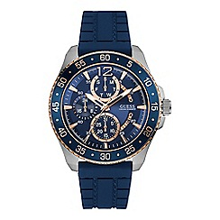 Guess - Men's blue watch with aluminium trim and blue textured strap w0798g2