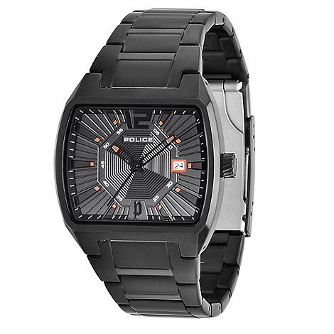 Police - Men+s black square dial bracelet watch