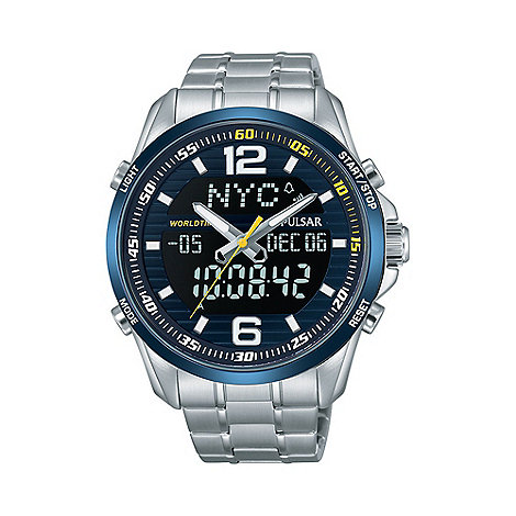 pulsar mens blue dial dual display wrc sports bracelet watch about this item
