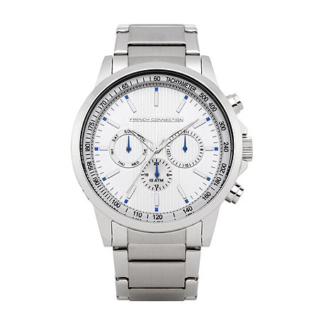 French Connection - Men+s silver chronograph dial bracelet watch