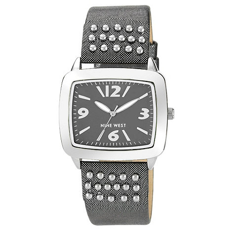 Nine West - Ladies black studded strap watch