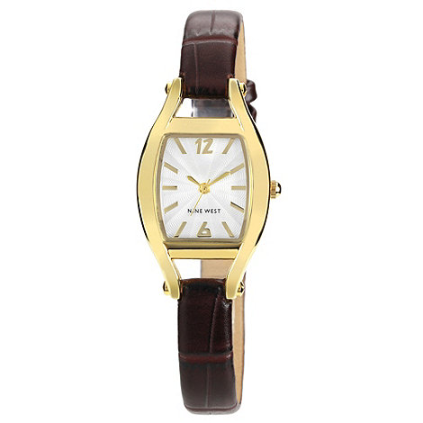 Nine West - Ladies brown tonneau dial watch