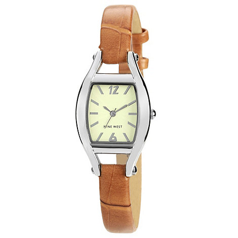Nine West - Ladies tan tonneau case mock-crocodile strap watch