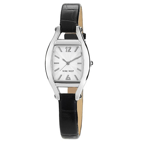 Nine West - Ladies black tonneau case mock-crocodile strap watch
