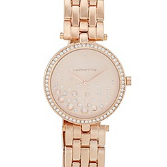 Red Herring - Ladies rose gold diamante embellished watch