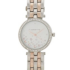 Red Herring - Ladies rose gold and silver  diamante embellished watch