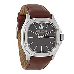 Jeff Banks - Men's brown riveted square dial watch