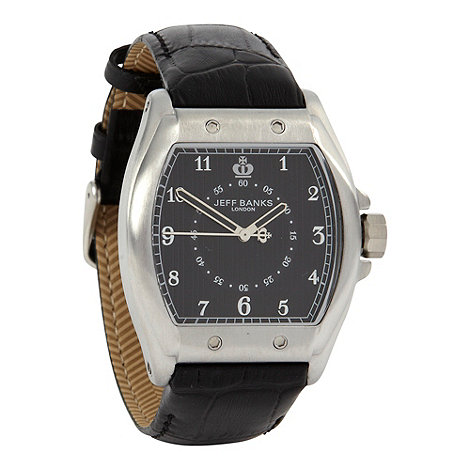 Jeff Banks - Men+s black tonneau dial mock-croc strap watch