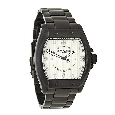 Jeff Banks - Men+s black tonneau dial bracelets strap watch