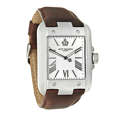 Jeff Banks - Men+s brown rectangular dial faux leather strap watch