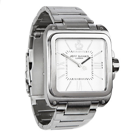 Jeff Banks - Men+s silver square analogue dial bracelet watch