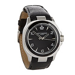 Jeff Banks - Men's black analogue dial croc strap watch