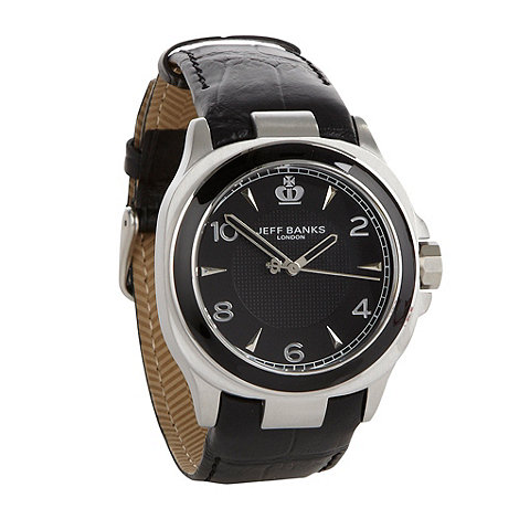 Jeff Banks - Men+s black analogue dial croc strap watch