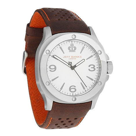 Jeff Banks - Men+s brown riveted bezel perforated strap watch