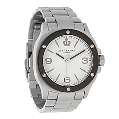 Jeff Banks - Men's silver riveted analogue dial bracelet watch