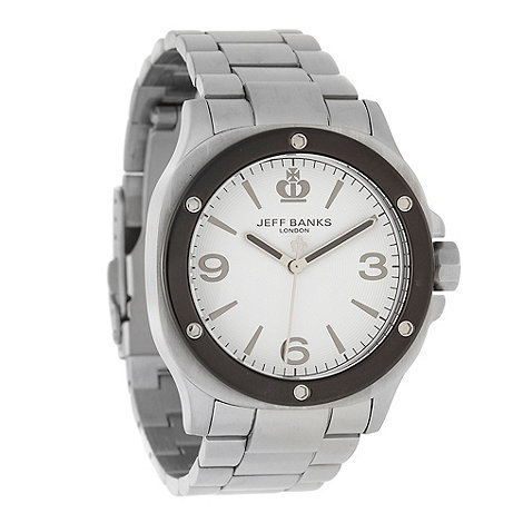 Jeff Banks - Men+s silver riveted analogue dial bracelet watch