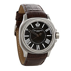 Jeff Banks - Men's brown grooved bezel croc strap watch