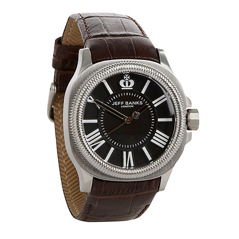 Jeff Banks - Men+s brown grooved bezel croc strap watch