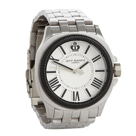 Jeff Banks - Men+s silver dial bracelet watch
