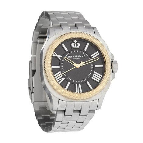 Jeff Banks - Men+s silver grooved bezel bracelet watch