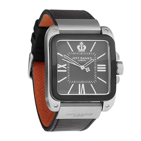 Jeff Banks - Men+s black leather strap watch