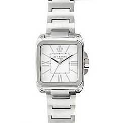 Jeff Banks - Men's silver rectangular analogue dial bracelet watch