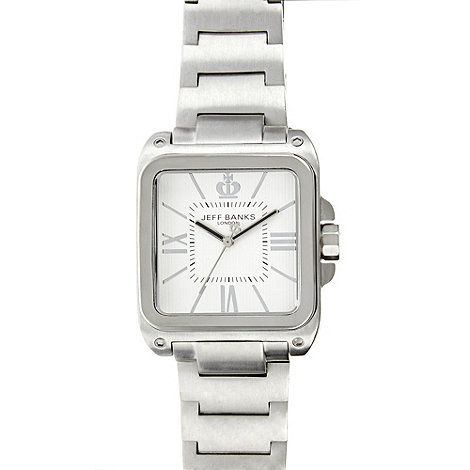Jeff Banks - Men+s silver rectangular analogue dial bracelet watch