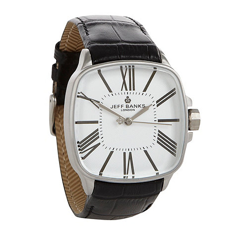 Jeff Banks - Men+s black square dial croc strap watch