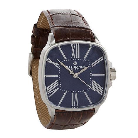 Jeff Banks - Men+s brown square dial croc strap watch