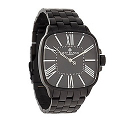 Jeff Banks - Men's black matte square dial bracelet watch