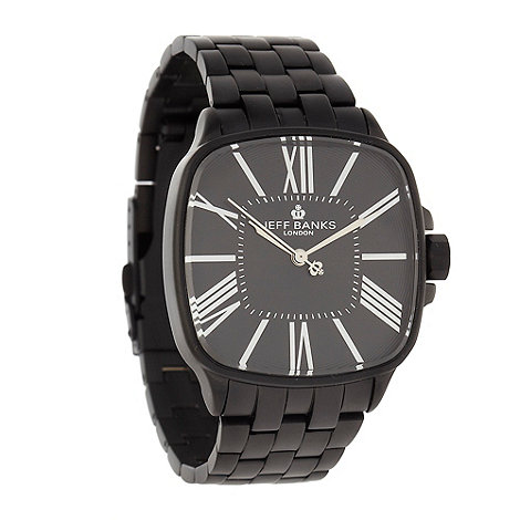Jeff Banks - Men+s black matte square dial bracelet watch