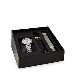 J by Jasper Conran - Ladies' silver analogue watch with interchangeable straps set