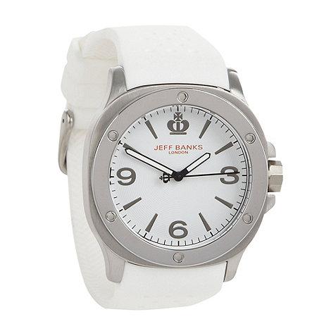 Jeff Banks - Men+s white silicone strap watch