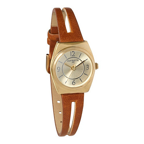 Infinite - Ladies tan split strap watch
