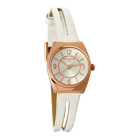 Infinite - Ladies white split strap leather watch