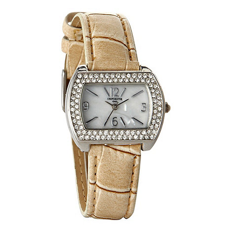 Infinite - Ladies beige pavi mock croc wrist watch