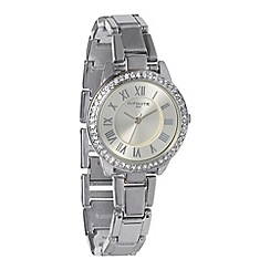 Infinite - Ladies silver diamante bezel watch