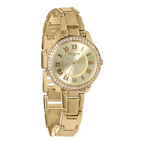 Infinite - Ladies gold diamante bezel watch
