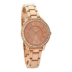 Infinite - Ladies rose gold roman numeral bracelet watch