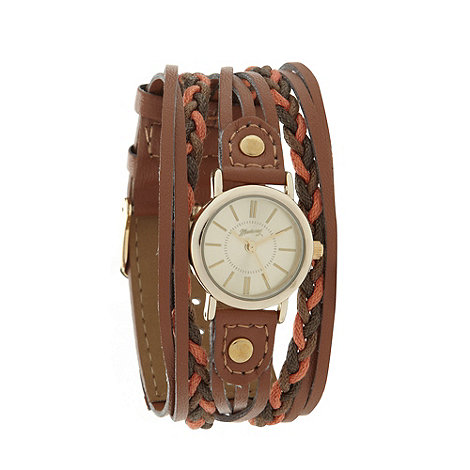 Mantaray - Ladies brown plaited multi strand watch