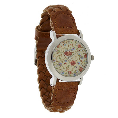Mantaray - Ladies tan floral plaited strap watch