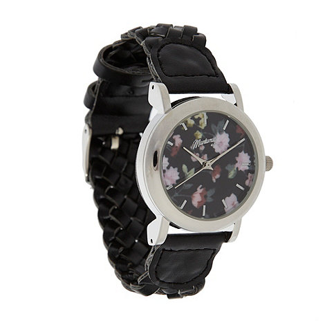 Mantaray - Ladies black floral plaited strap watch